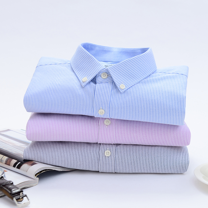2020 New Spring Autumn Oxford Mens shirts long sleeve Cotton casual shirt 6