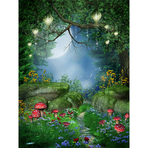 Image 5 - Allenjoy spring backdrop in wonderland party flowers snow white Forest photography background child fairy tale photophone