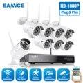 SANNCE 8CH HD 1080P беспроводная видео система безопасности HDMI NVR с 4X 6X 8X 1080P Открытый Всепогодный wifi IP камера комплект CCTV комплект