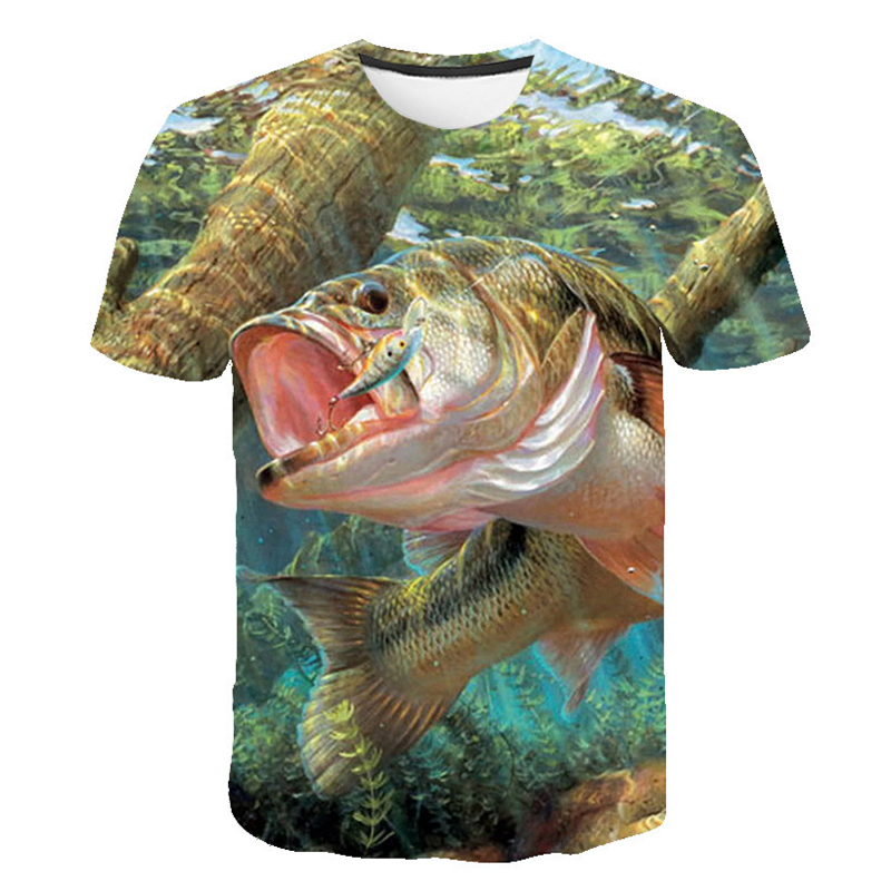 3d Fish T Shirts For Men Summer Short Sleeve O-neck Tops&Tees Funny Hip Hop Streetwear Casual Style Digital Fish Print T-shirt