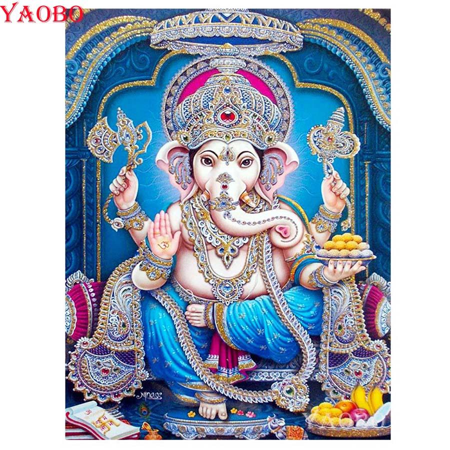 Elephant head God Ganesha Diamond Painting Round/Square New DIY Sticking Drill Cross Stitch Embroidery 5D Mosaic Home Decor