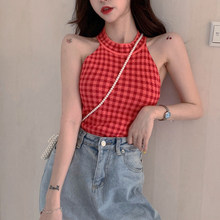 New Retro Moda Cropped Cheque Camisa Selvagem Magro Camisa Fora Do Ombro Cropped Shirt Mulheres Sexy Eye Catching Pouco Xadrez Halter top(China)