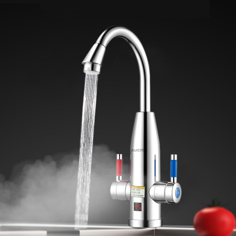 3400W Instant Electric Faucet Double Handle Water Heater Kitchen Tankless Hot Water Heating Tap With Temperature Display 220V