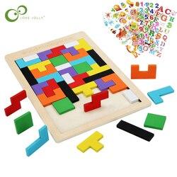 Rompecabezas Tangram de madera de colores para niños, juego de Tetris, maginación intelectual, juguete educativo para chico WXK, 1 ud.