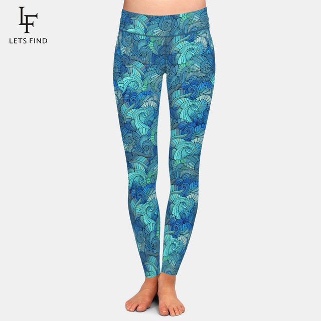 LETSFIND Super Soft Milk Silk Print Waves Style Women Plus Size Fitness Leggings High Waist Ccomfortable Elastic Women Full Pant 1