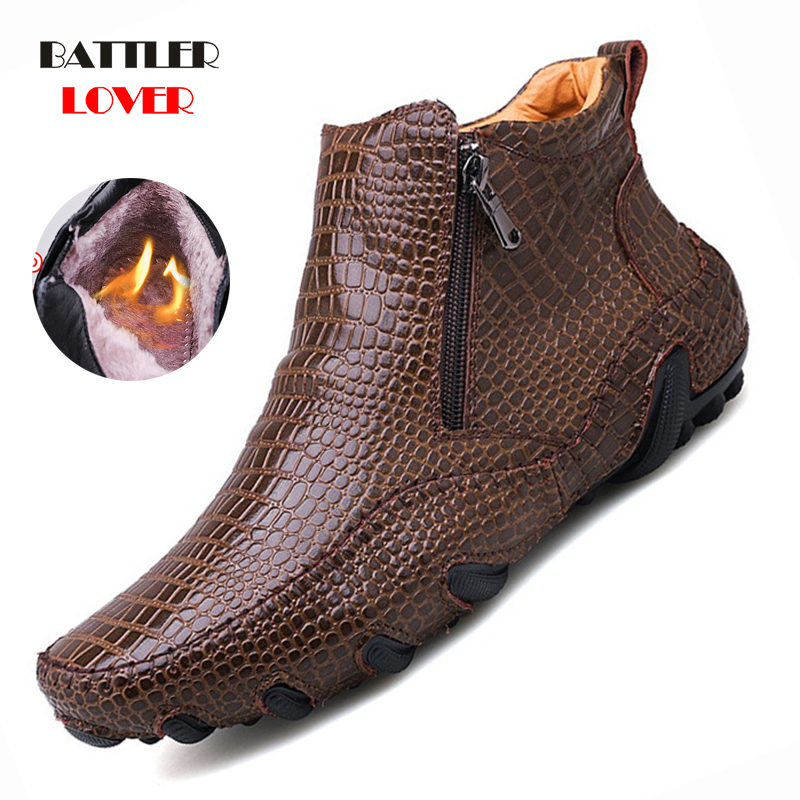 Mens Loafers Winter Shoes Men Loafers Leather Moccasin Crocodile Style Footwear Slip On Flat Driving Boat Shoes Classical Male
