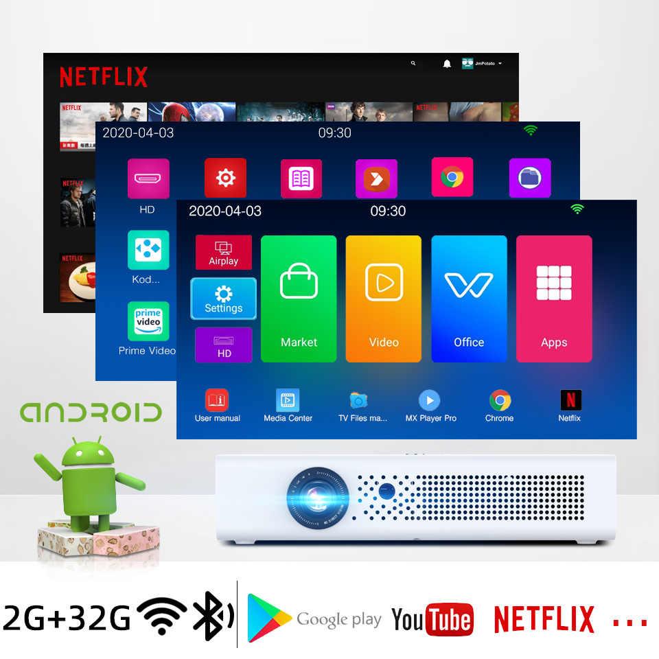 BYINTEK Mini 3D R19 4K Wifi inteligente Android Proyector LED portátil DLP Proyector láser Proyector para Smartphone 300 pulgadas cine VIP