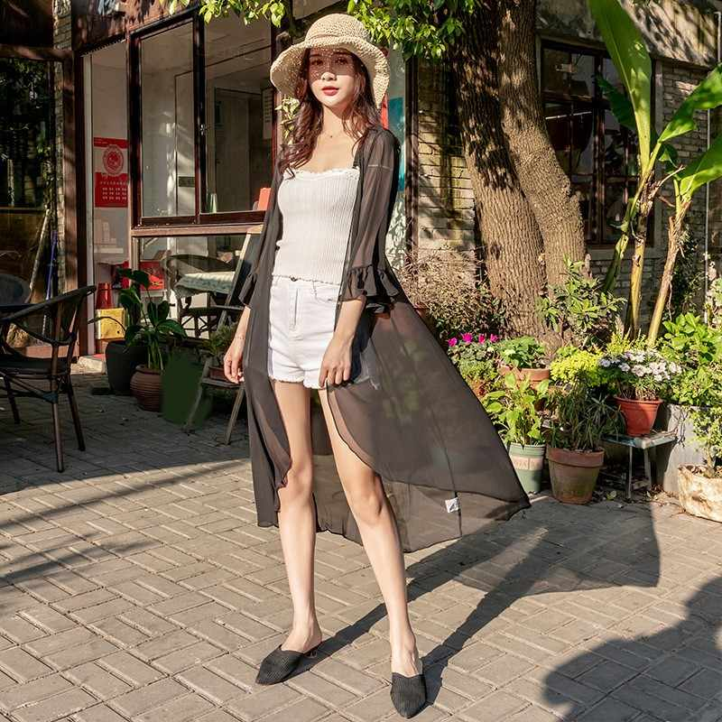 Летняя шифоновая Длинная блузка с оборками, женские топы с коротким рукавом, свободные, большие размеры XXL, черный, белый цвет, шифоновое кимоно, кардиган, рубашка Boho