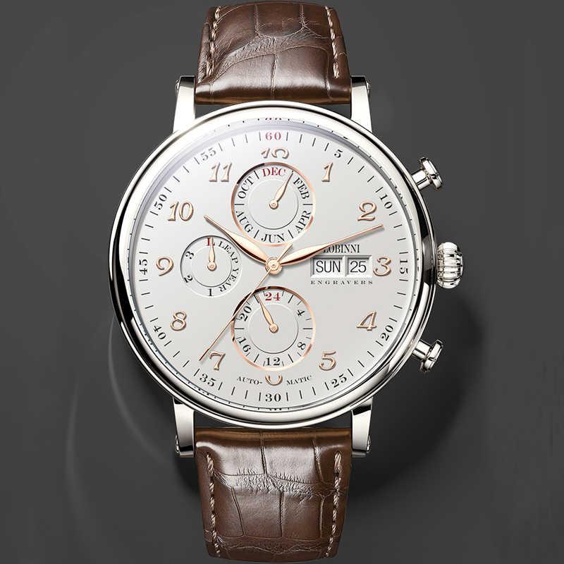 Szwajcaria LOBINNI mężczyźni zegarki luksusowe marki Perpetual kalendarz Auto mechaniczny zegar męski Sapphire Leather relogio L13019-6