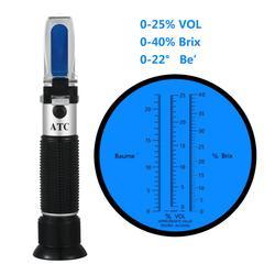 Nowy przenośny refraktometr do wina z winogron i alkoholu 3 w 1 (wagi Brix  Baume i W25V/V) w Refraktometry od Narzędzia na