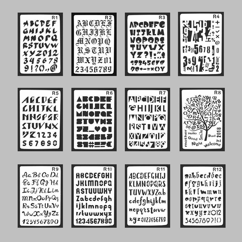 Plastic Graveer Stencils English Alphanumeric Pattern Engraving Templates Hollow Ruler Drawing Template Stationery Drawing Decor