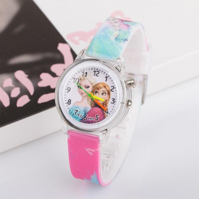 New Princess Elsa Anna Children Kids Watches Colorful Light Source Boys Watch Girls Kids Party Gift Clock Wrist Relogio Feminino