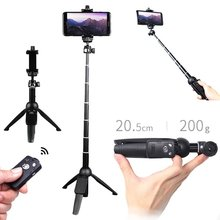 Nirkabel Bluetooth Selfie Stick Portabel Lipat Tripod Handheld Monopod untuk iPhone XR Samsung GOPRO HERO 7 6 Yi Cam(China)