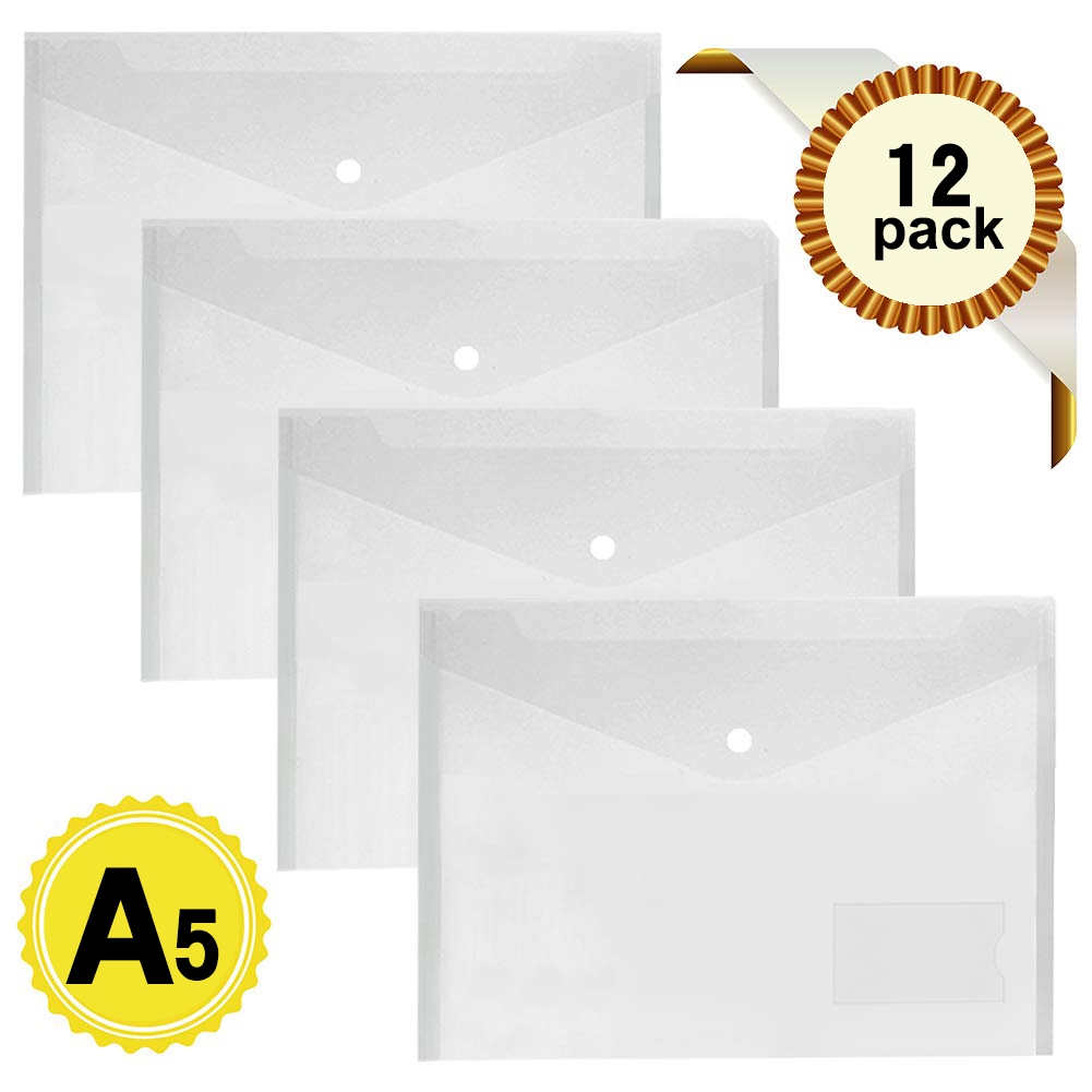 12pcs/set Transparent Plastic A5 Folders With Pocket Document Bag Hold Bags Folders Filing Paper Storage Office School Supplies