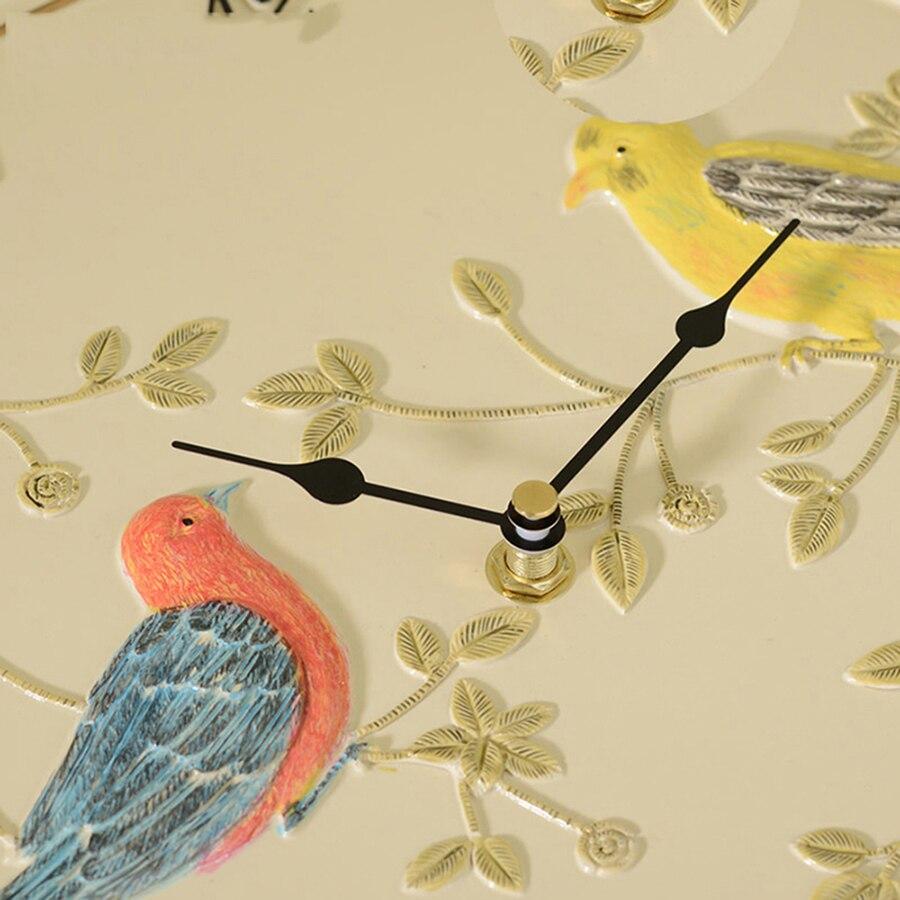 Безопасная Смола бесшумные птицы художественные настенные часы креативные простые настенные часы живопись Декор Resina классические часы де... - 5