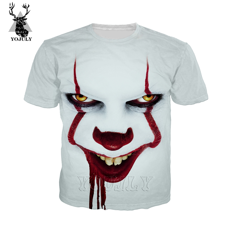 <font><b>Pennywise</b></font> Anime clown <font><b>tshirt</b></font> Harley Quinn fashion off white t shirt joker men's 3D print shirt unisex O-neck streetwear tops A18 image