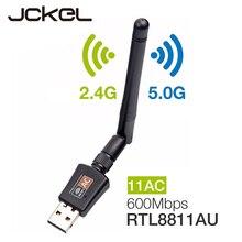 JCKEL 600 mb/s 5G/2.4G USB Wifi Dongle Adapter USB dwuzakresowy RTL8811AU Wifi antena Adapter LAN dla Windows Mac Desktop/Laptop/PC
