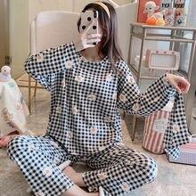 Пижамный комплект женский с длинным рукавом одежда для сна хлопок