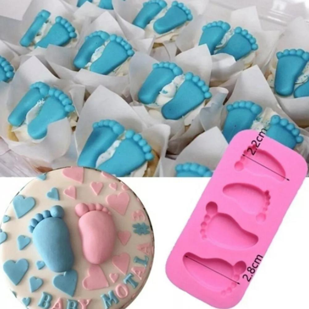 2021 New Stereoscopic Baby Mini Foot Soft Pottery Chocolate Handmade Mold Rectangular 4 Pieces Of Soft Pottery Clay Decoration