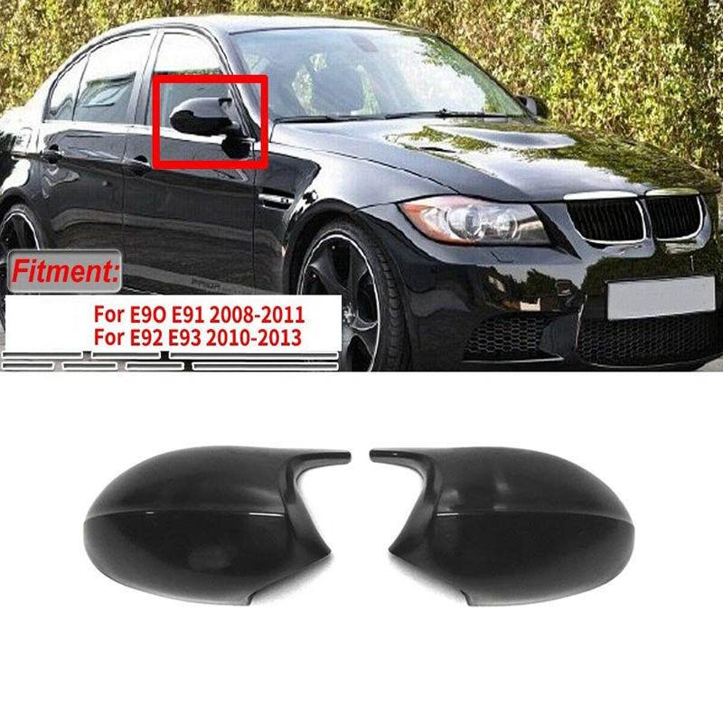 Plain Black M3 Style Rear View Mirror Cap Cover Replacement for BMW 3 Series E90 E91 E92 E93 LCI Facelifted 2010-2013 image