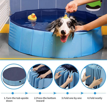 Dog Pool Foldable Dog Swimming Pool Pet Bath Swimming Tub Bathtub Pet Collapsible Bathing Pool for Dogs Cats Kids 30/60/80cm image