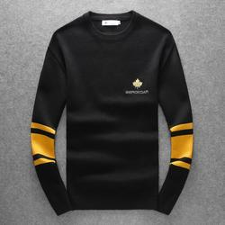 New kiryaquy Men Luxury gentleman Cotton embroidery Maple leaf striped Casual Sweaters pullover Asian Plug Size High Drake #N144