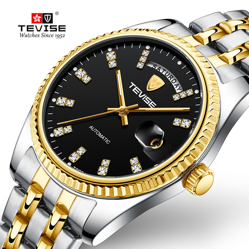 Tevise Men Watch Top Brand Luxury Gold Mens Automatic Mechanical Watches Men Self Winding Male Wristwatches Relogio Masculino Mechanical Watches     - title=
