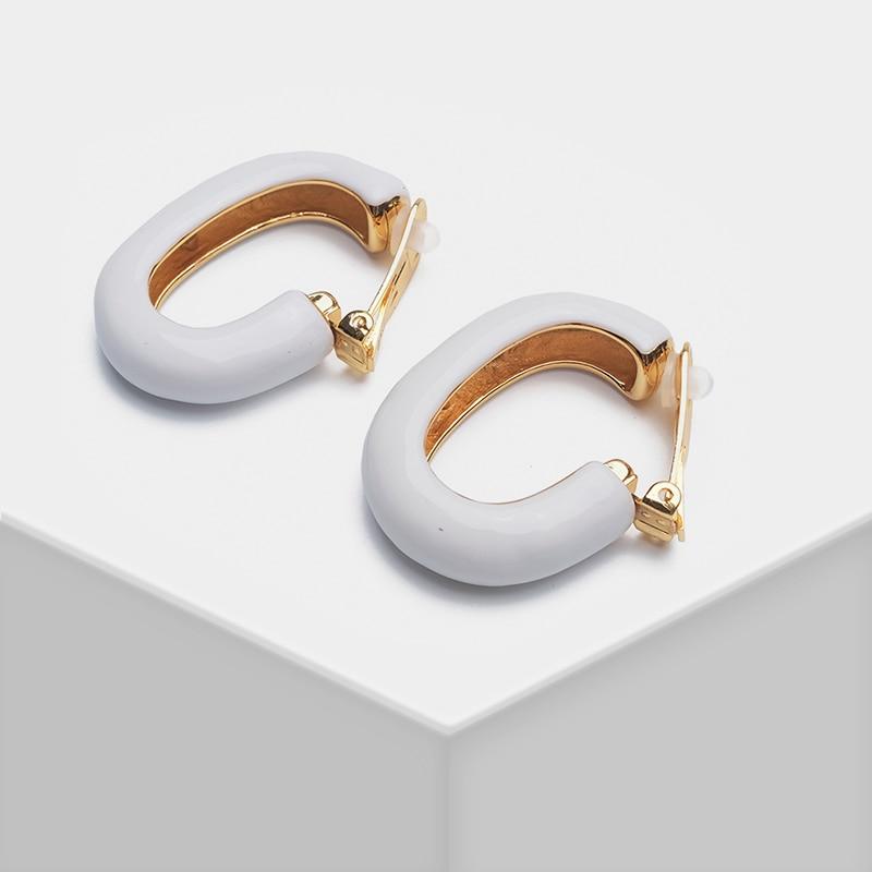 Geometric Design Pendant Stylish Clip Earrings