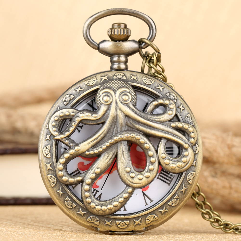 Bronze Octopus Hollow Quartz Pocket Watch Vintage Necklace Pendant FOB Clock For Kids Men Women Chain Retro Reloj With Accessory