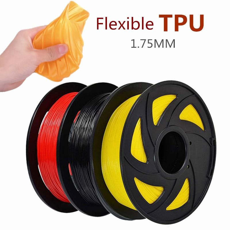 1,75 мм 3D ТПУ Гибкая нить 1 кг/500 г/250 г рулон Гибкая нить для 3D-принтера пластиковые печатные материалы черный красный желтый кристалл