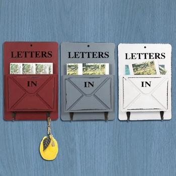 Drewniana skrzynka pocztowa list stojak ścienny Mail Sorter schowek haki do kluczy stojak tanie i dobre opinie CN (pochodzenie) Storage Box Mail Box Other Ekologiczne Na stanie 100 kg Nowoczesne Błyszczący Rectangle Na rozmaitości