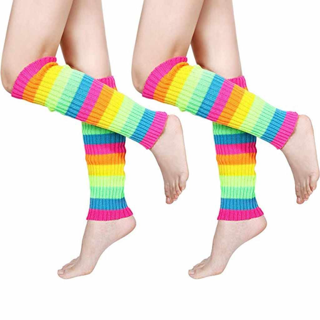 2019 kış botu manşetleri sıcak örme bacak çorap kadın moda çizgili uzun yüksek çorap kadın rahat akrilik diz üstü çorap