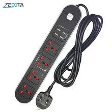 Protector de sobretensión de tira múltiple, 3 enchufes eléctricos de CA, toma de corriente Universal con puertos de carga USB con cable de extensión de 2m