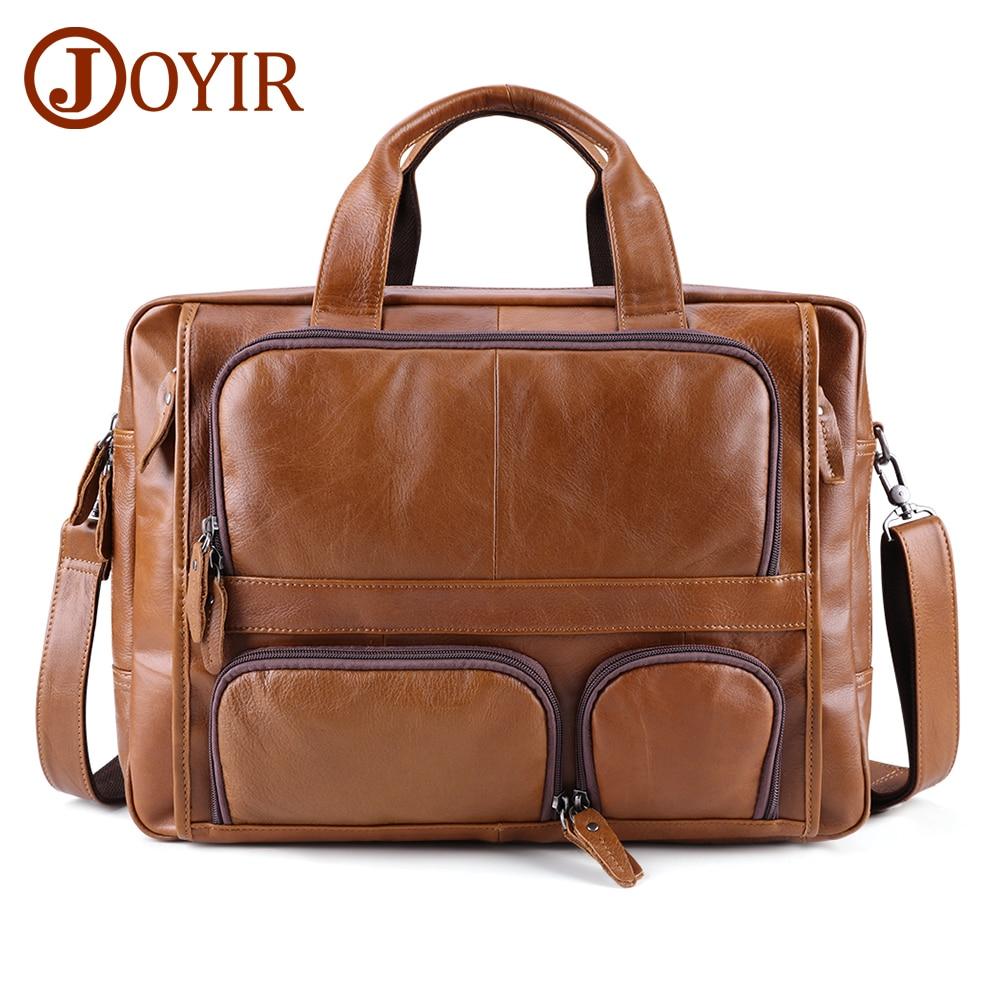 JOYIR Genuine Leather Men's Briefcase Business Bag Leather Laptop 17
