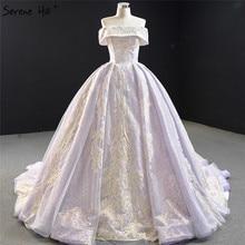 سيرين هيل الأرجواني الدانتيل الخرز اللؤلؤ بلا أكمام فستان الزفاف 2020 قبالة الكتف فستان زفاف مثير مخصص CHM67082