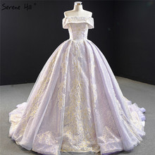 Serene Hill Purple Lace Beading Pearl Sleeveless Wedding Dress 2020 Off Shoulder Sexy Bridal Gown Custom Made CHM67082