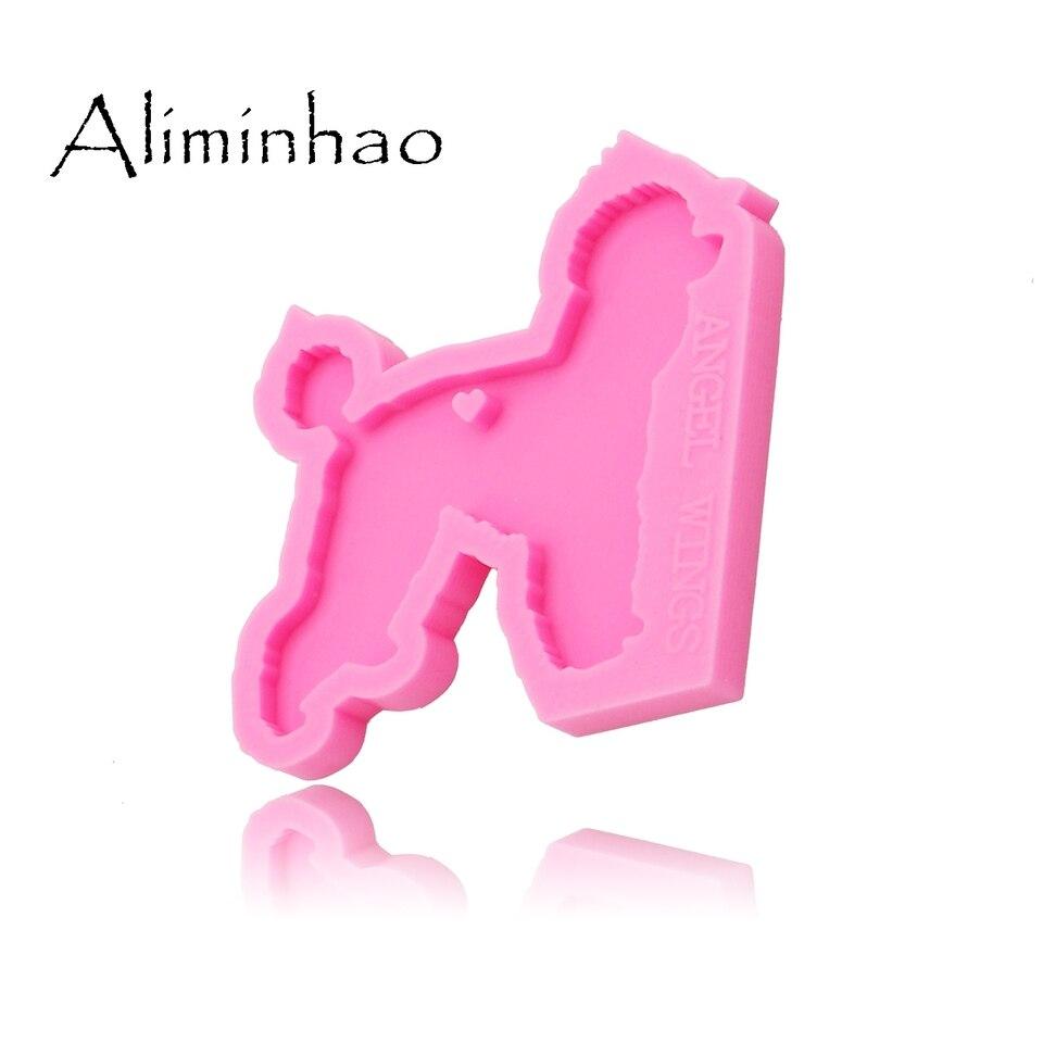 DY0128 Shiny Poodle Silicone Molds for DIY Key Ring epoxy Resin Mold Dog Craft Custom Keychain