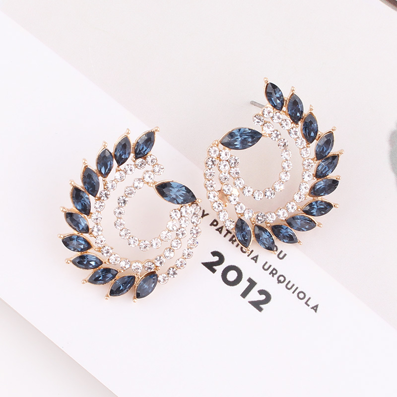 LUBOV Wholesale Peacock Colorful Crystals Dangling Stud Earrings Fine Rhinestone Jewelry Accessories For Women Friendly Gift