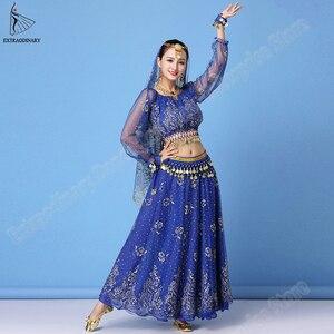 Image 2 - Bollywood Kleid Kostüm Frauen Set Indischen Tanz Sari Bauchtanz Outfit Leistung Kleidung Chiffon Top + Gürtel + Rock