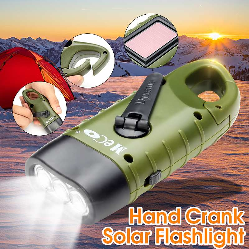MECO Mini Emergency Hand Crank Solar Flashlight Rechargeable LED Light Lamp Charging Powerful Torch For Outdoor Camping