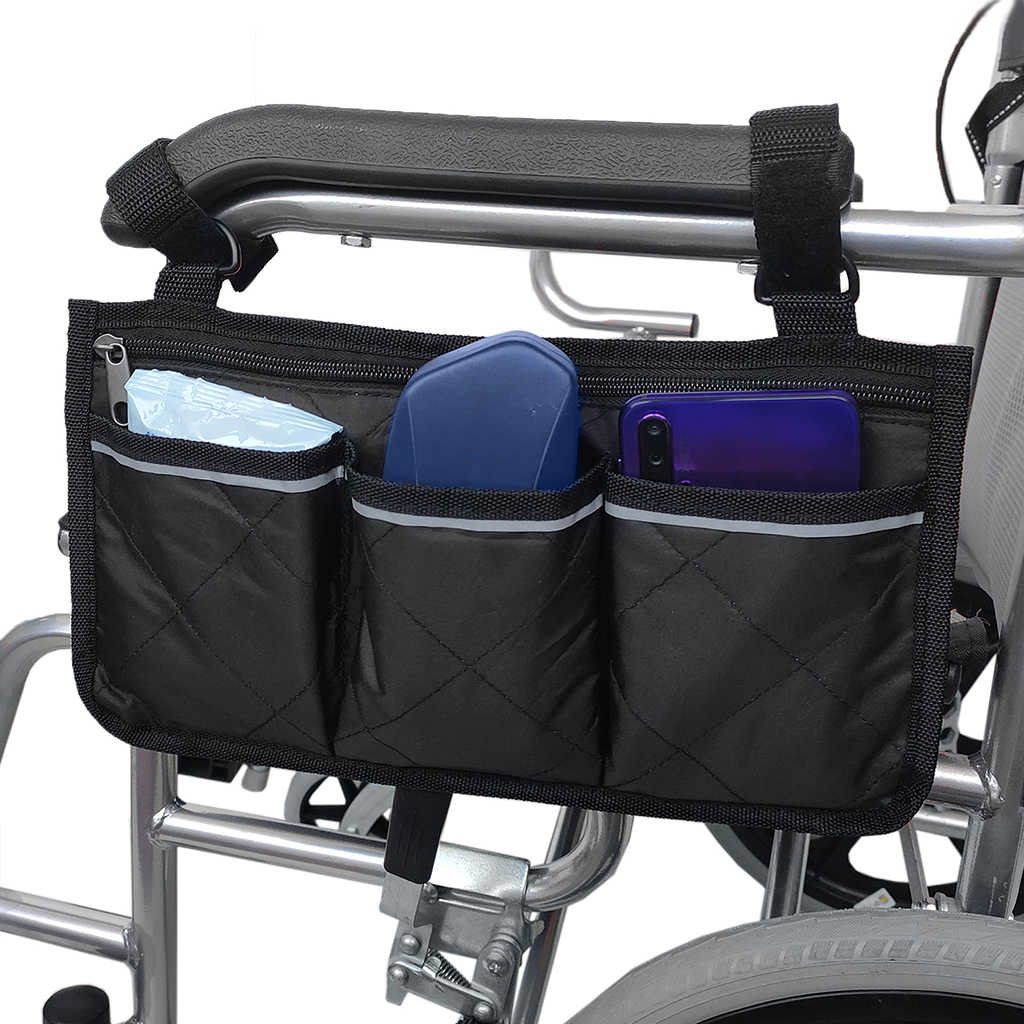 Universal Wheelchair Scooter Side Bag Walker Bag Rollator Organizer Pouch Multi-Pocket Bag Wheelchair Accessories