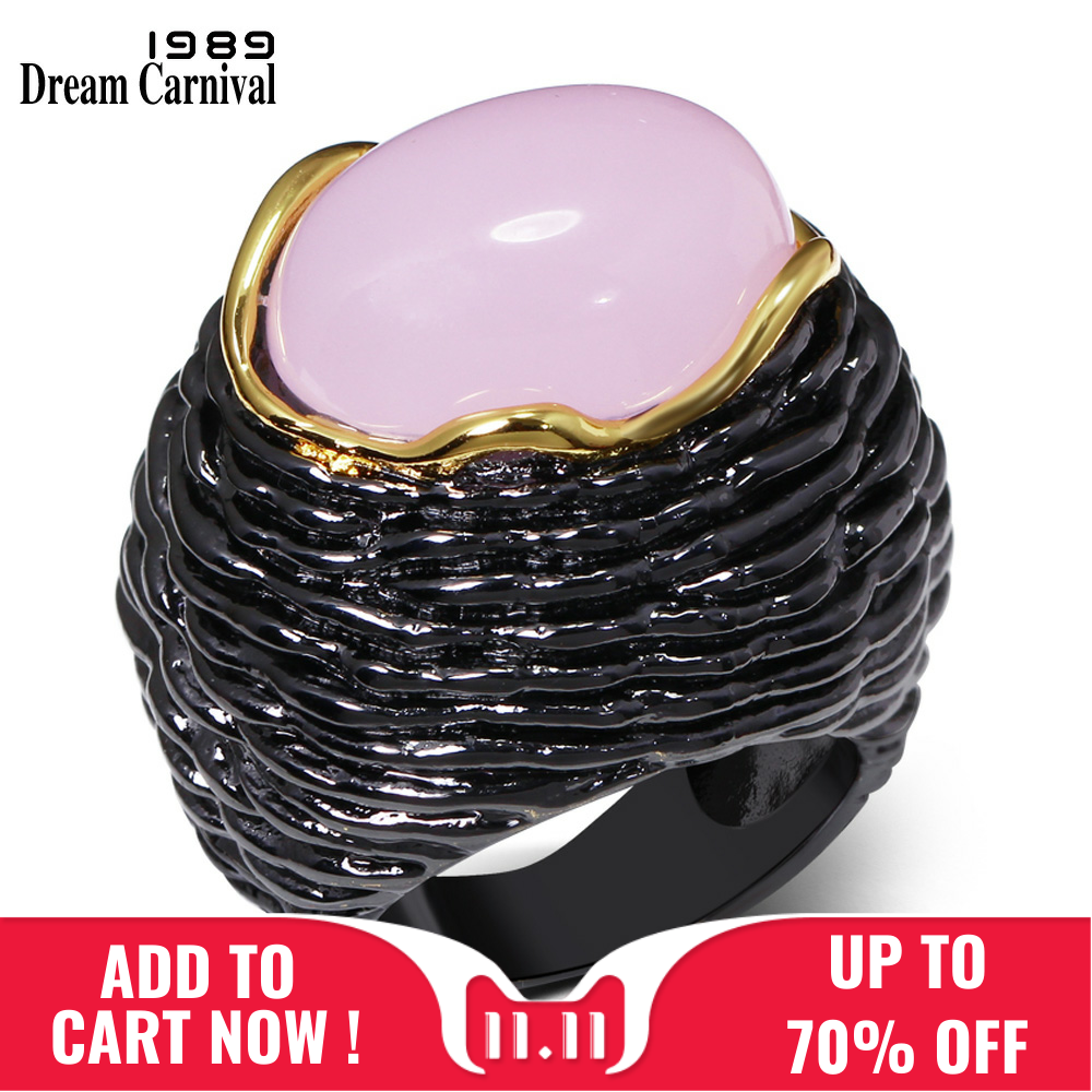 DreamCarnival 1989 Unique Statement Vintage Black Gold Color Light Pink Zircon Mulheres Anillos Mujer Big Party Ring for Women