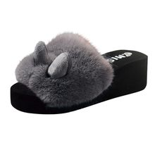 Sexy Ladies Solid Black Plush Fluffy Slip-on Slippers Fashion Beach Rabbit Ear Women Open Toe Wedges Warm Winter Slipper Shoes(China)