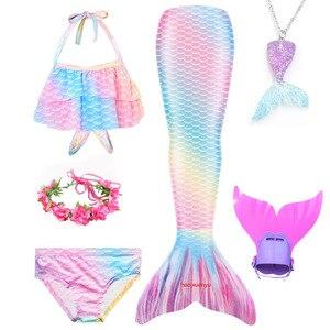 Image 3 - Girls Mermaid Tail Swimsuit 3 pcs Bikini Bathing Swimming Costumes Children Cosplay Dress With Monofin Fin Birthday gift