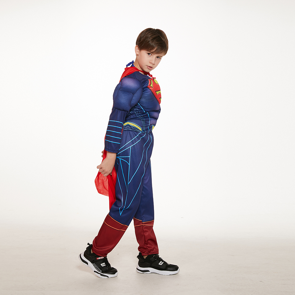 Movie Superman Costume Kids Boys Children Superhero Party Cosplay Halloween Carnival Fancy Dress Muscle Super Hero Jumpsuit