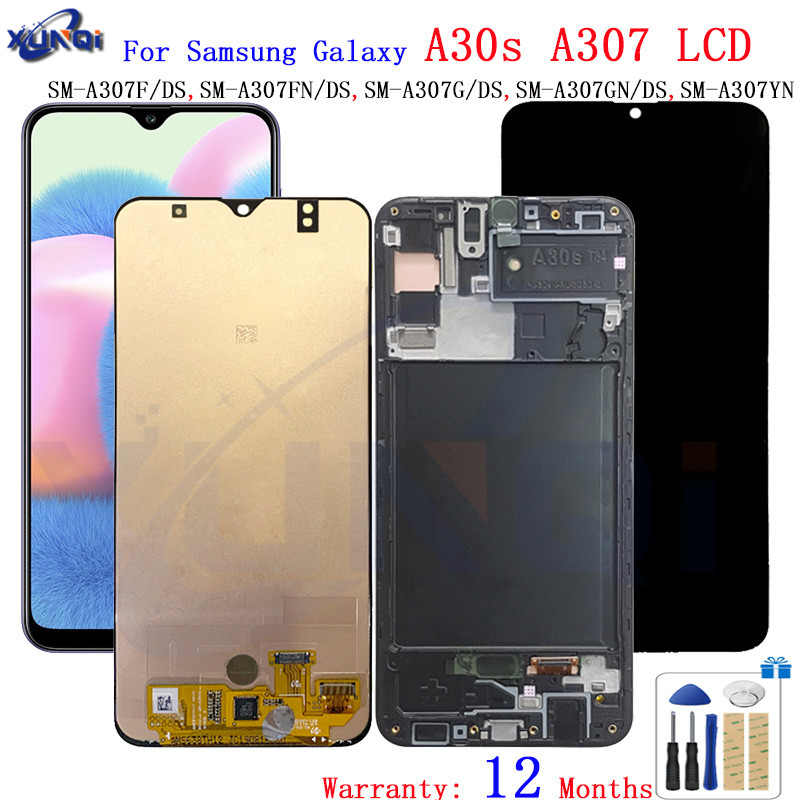 Super AMOLED For <font><b>Samsung</b></font> <font><b>A30s</b></font> <font><b>lcd</b></font> A307 Touch Screen Digitizer Assembly +frame A307FN A307GN SM-A307F/DS screen repair parts image