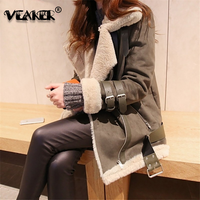 2019 Winter Women Fur Faux   Suede     Leather   Jacket Thick Coat Outwear Fashion Loose Overcoat Buckle Motorcycle Wool Jacket Warm 5XL