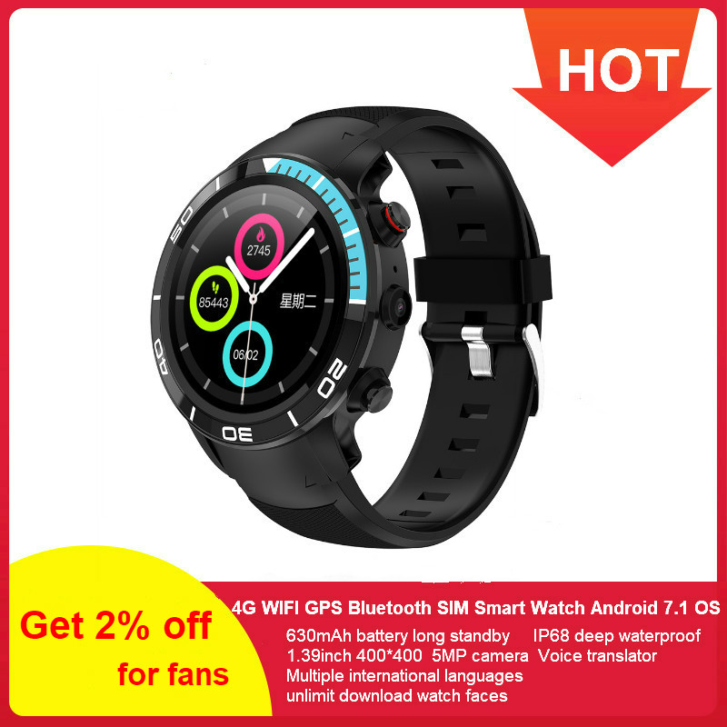 696 H8 de moda 4G GPS reloj inteligente IP68 a prueba de agua Android 7,1 SIM Nano 16 GB/ROM smartwatch con monitor de ritmo cardíaco podómetro