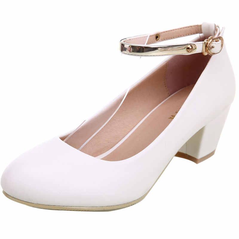 Yalnn los tacones altos de las mujeres bombas Zapatos blanco zapatos ronda vestido de tacón hebilla bombas tacones cuadrados Mujer Zapatos cristianos bombas
