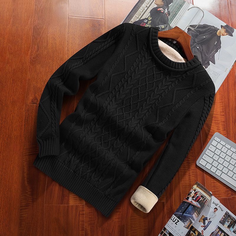 Winter Men Sweater Plus Velvet Keep Warm 2020 New Arrival Slim Thick Male Pullover Sweater Teenage
